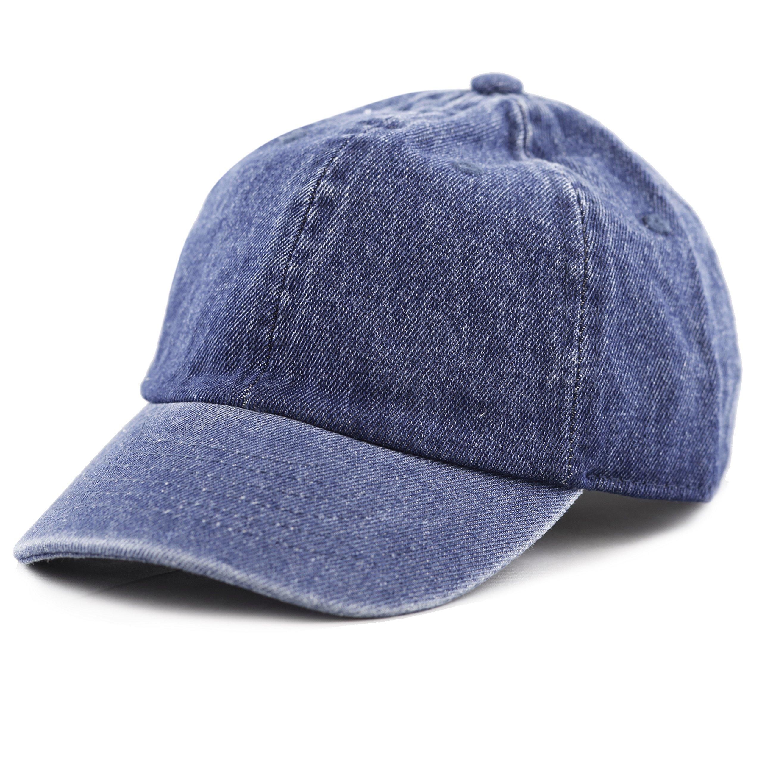 THE HAT DEPOT Kids Washed Low Profile Cotton and Denim Plain Baseball Cap Hat (6-9yrs, Dark Denim)