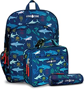 LONECONE Kids' 3-Piece Back to School Kit - Backpack, Lunchbox & Pencil Case- Shark School