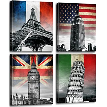 Store artwork black and white architectures home office decorations wall art europe city canvas prints buildings