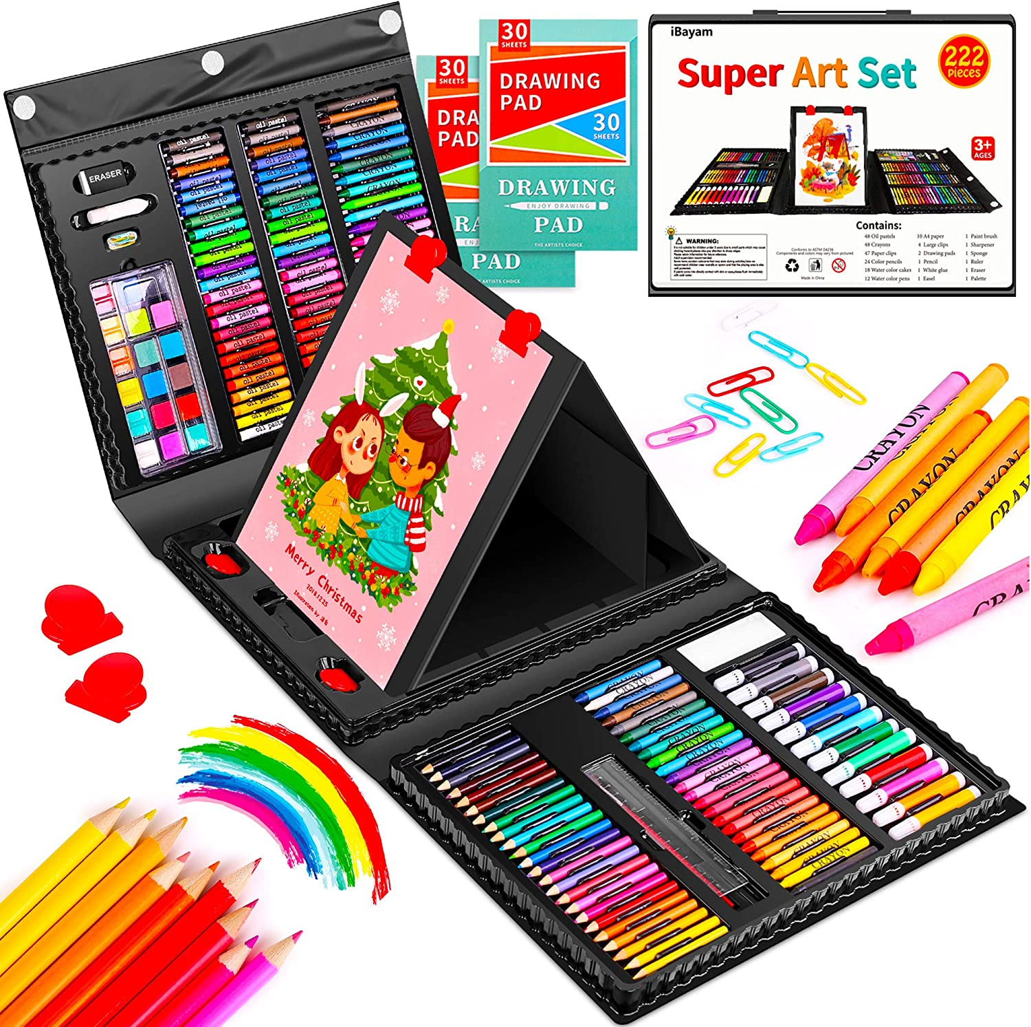 Art Set, iBayam 222 Pack Art Supplies Drawing Kit for Kids Girls Boys Teens Artist Children 5 6 7 8 9 11 12, Deluxe Beginners Art Case Gift with Trifold Easel, 2 Sketch Pads, Pastels, Crayons, Pencils