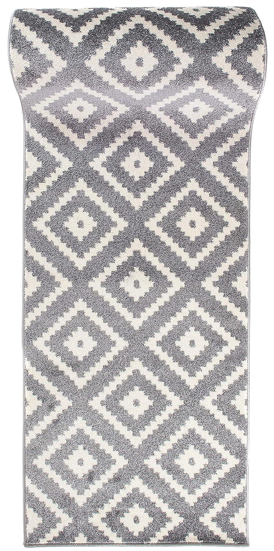 Läufer Teppich Brücke Teppichläufer - Orientalisches Marokkanische - Flur Modern Designer Muster Meterware - Casablanca Kollektion von Carpeto - Grau - 120 x 325 cm