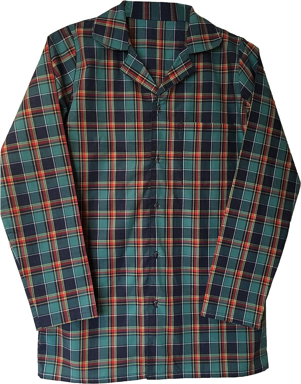 Mens 100% Cotton Button Up Long Sleeve Plaid Check Sleepwear Nightshirt