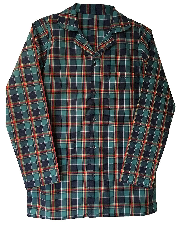 Mens 100% Cotton Button Down Long Sleeve Plaid Check Sleepwear Nightshirt SKSNB