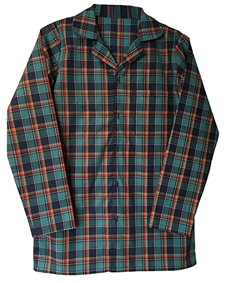 Mens 100% Cotton Button Up Long Sleeve Plaid Check Sleepwear Nightshirt  (Large (38 7d56bf4ef