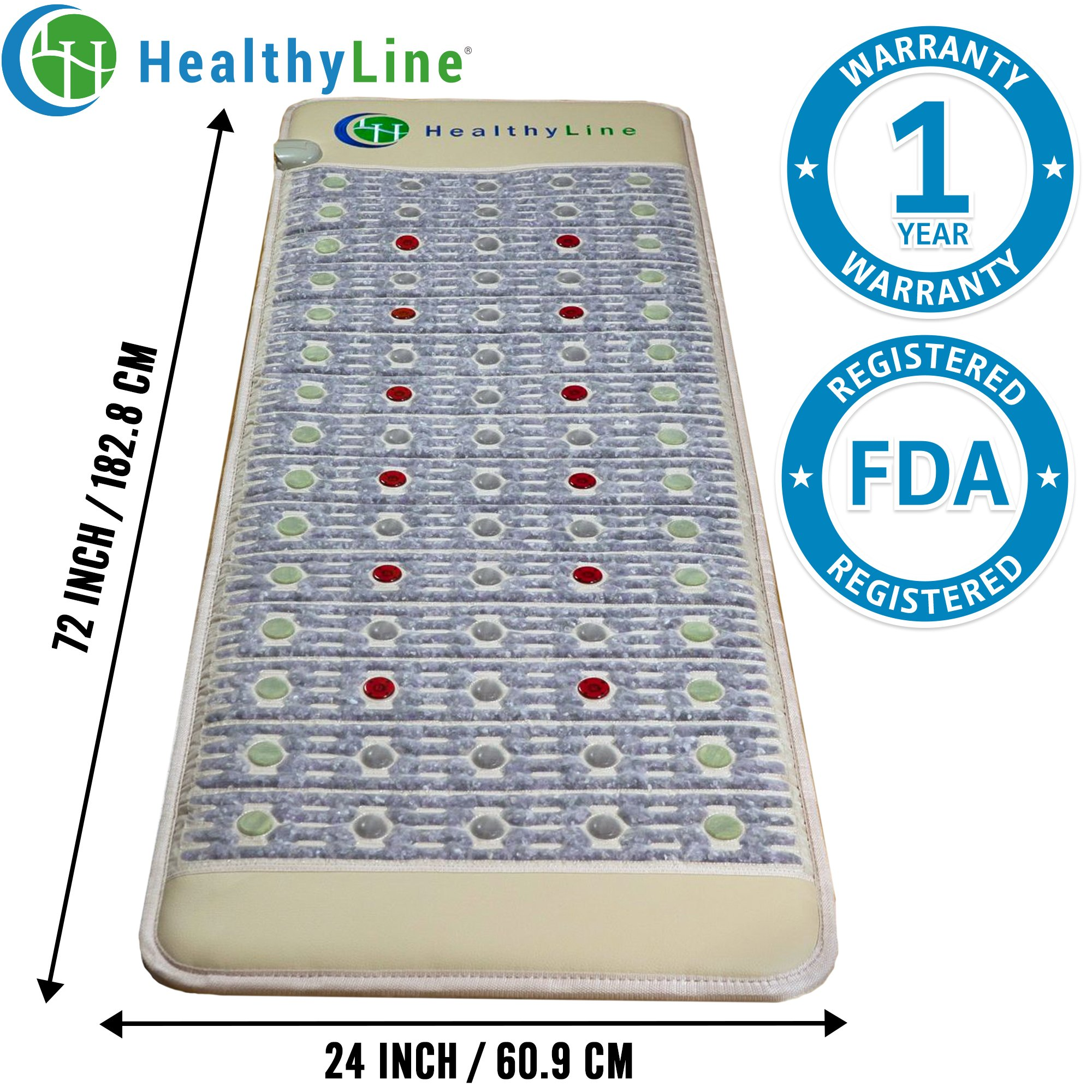 HealhyLine Natural Infrared Heating Mat - Relieve Pain, Sore Muscles, Arthritis and Injury Recovery - 6 PEMF Coils, 12 Photon LEDs, Amethyst, Jade & Tourmaline Ceramic Stone Firm (72″ x 24″) by HealthyLine