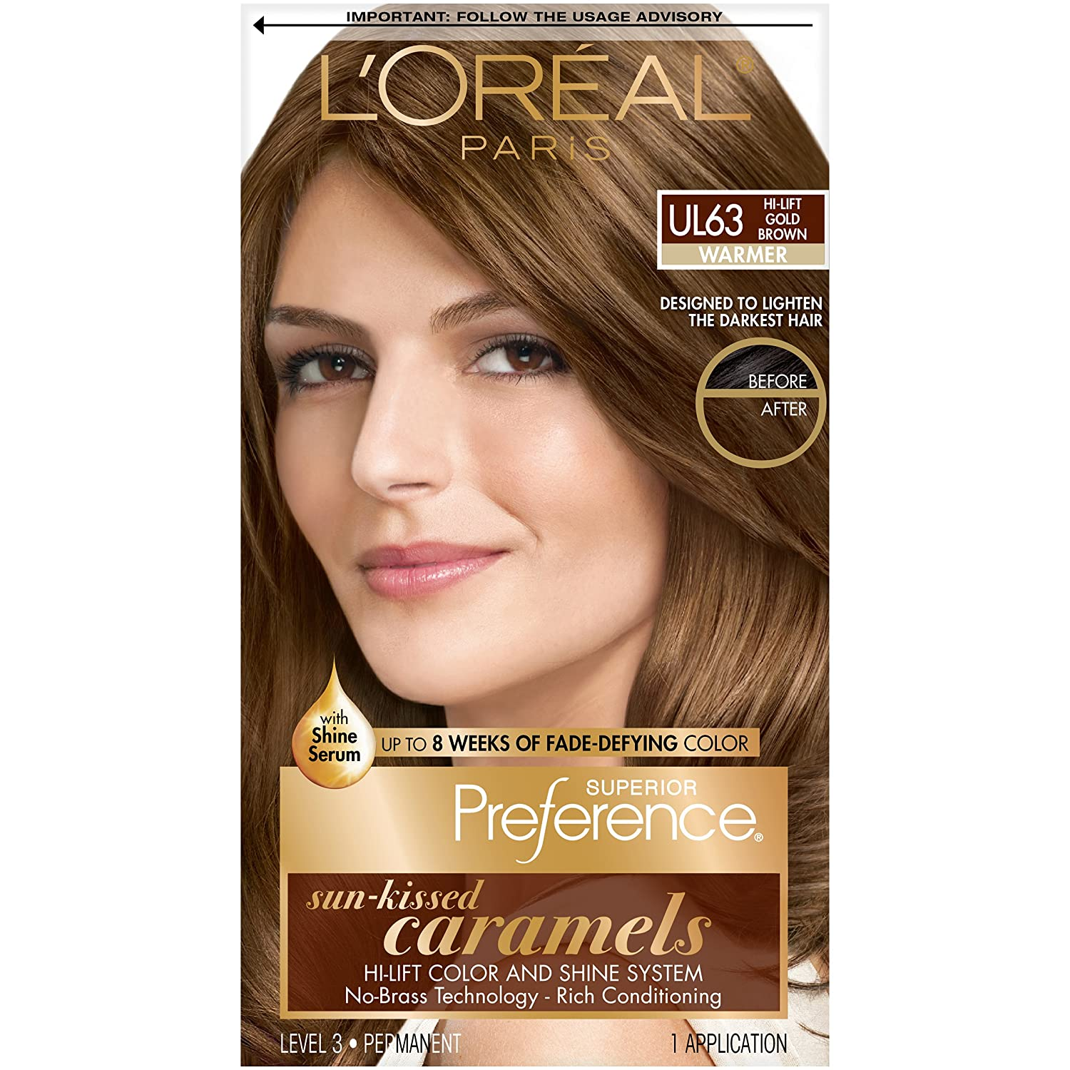 L'Oréal Paris Superior Preference Fade-Defying + Shine Permanent Hair Color, UL63 Hi-Lift Gold Brown, 1 kit Hair Dye