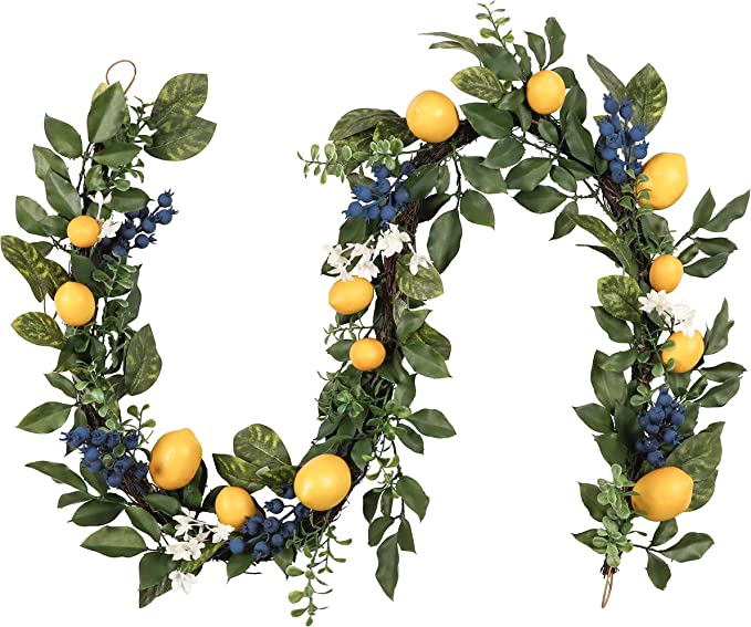 Valery Madelyn 6 Feet/72 Inch Spring Artificial Fruit Garland with Lemon, Blueberry and Green Leaves for Front Door, Wall and Home Decorations