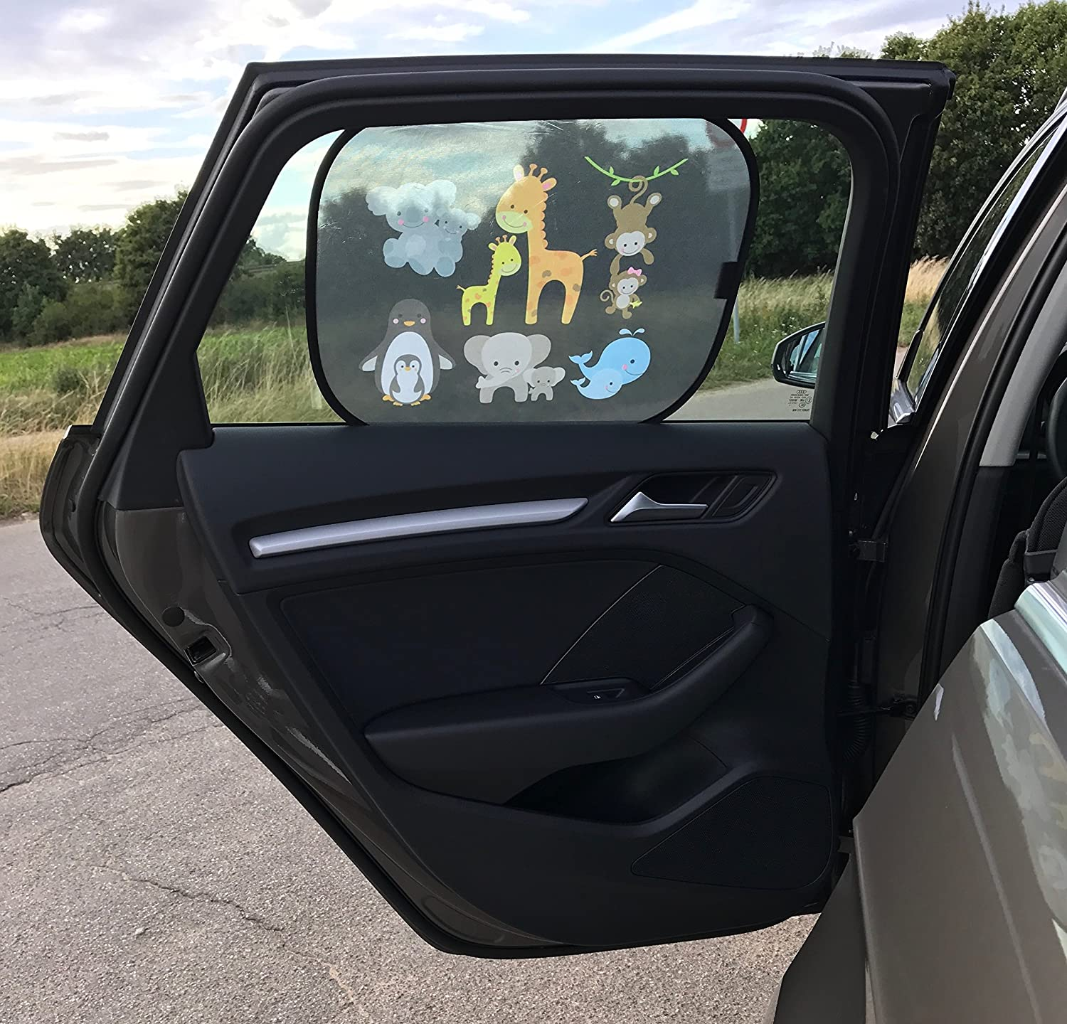 ohne Saugn/äpfe Selbsthaftende Auto Sonnenblende Autofenster Sonnenschutz Autosonnenblende inkl UV Schutz HECKBO/® 44x36cm - Autosonnenschutz Kinder Tasche | Motiv: Baby Tiere Mama 2 St/ück