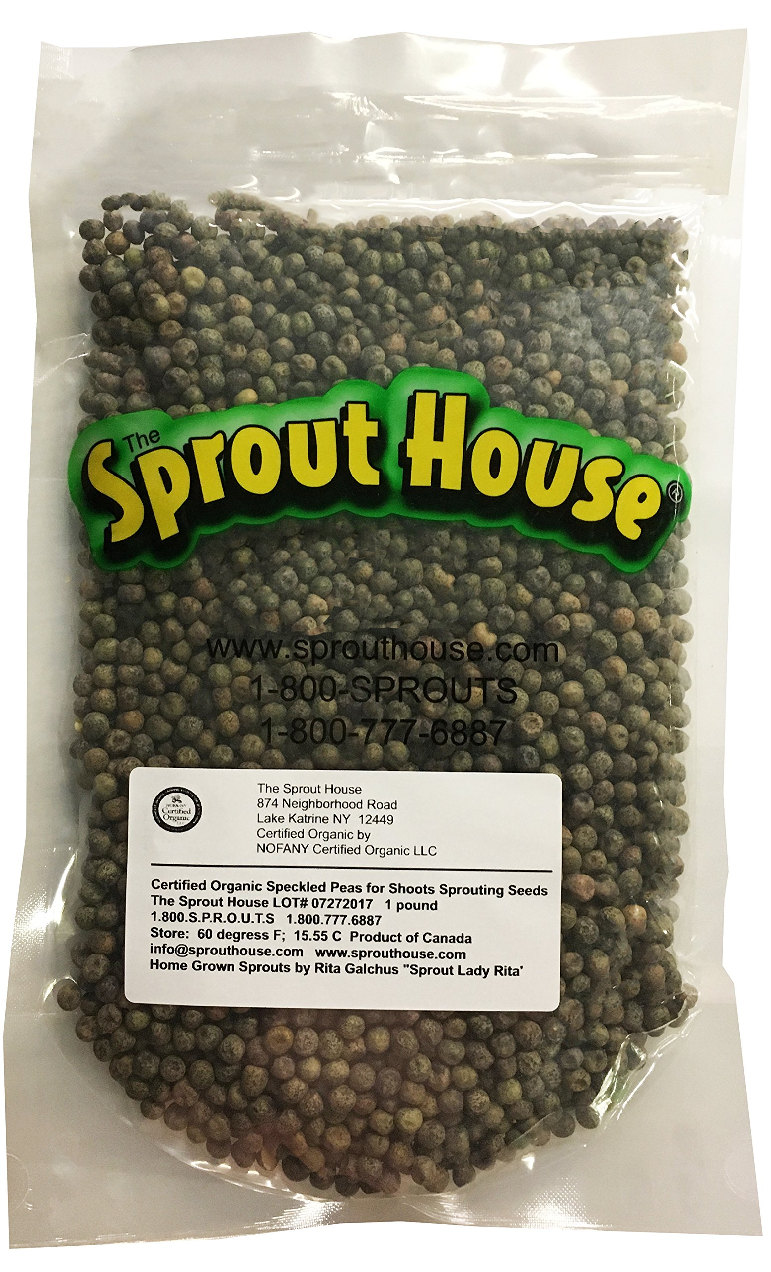 The Sprout House Certified Organic Non-gmo Sprouting Seeds Speckled Peas for Shoots 1 LB