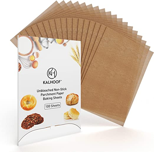 Parchment Paper Sheets By KALHOOF- Premium 12 x 16 Unbleached FDA Certified 100 Reclosable Box For Easy Storage Waterproof Greaseproof Doesnt Burn Or Curl Non Stick Pre Cut