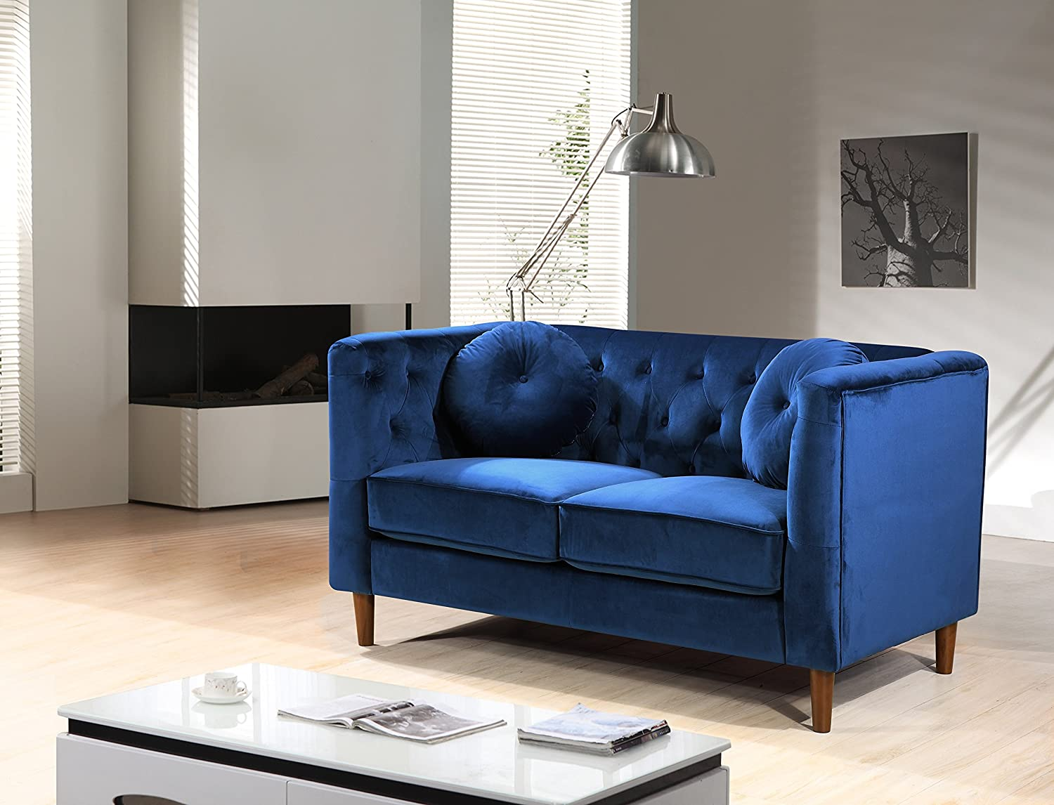 Container Furniture Direct S5423-S+L Catalina Modern 2-Piece Velvet Upholstered Button Tufted Chesterfield Living Room Set Blue