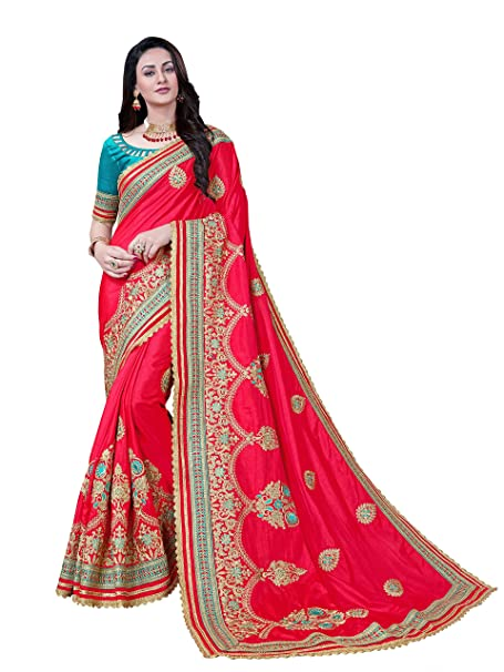 784c6fac40ecc5 MANOHARI Women s Embroidery Art Silk Saree with Blouse Piece (MN357 ...