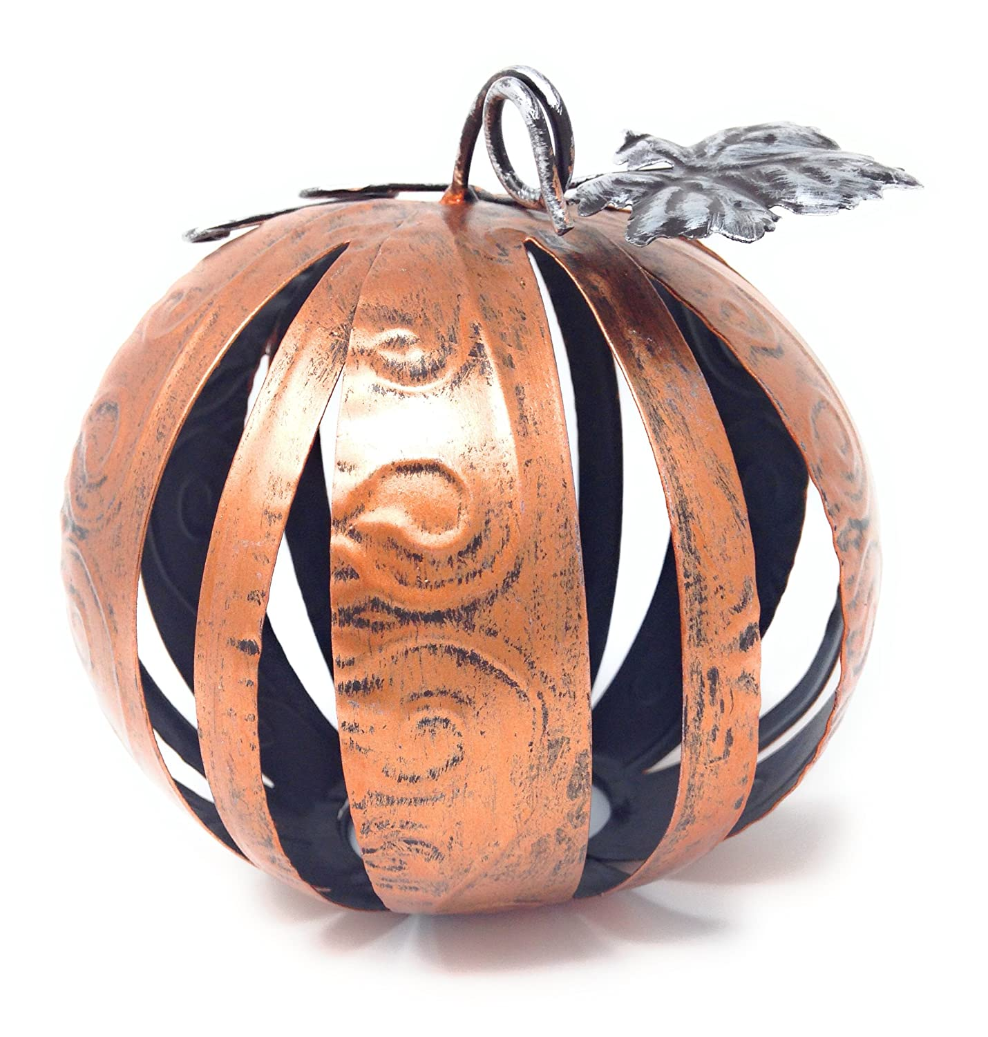 Haute Listings Small Orange Band Metal Band Decorative Pumpkin Sphere with Galvanized Leaves