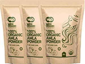 Amla Powder for Hair Growth Organic 4 Oz(3 Pack), Indian Gooseberry amalaki Supplement - Way4Organic