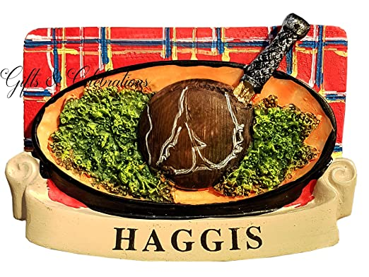 Escocia Imán para nevera de Escocia Haggis plato y tartán fondo ...