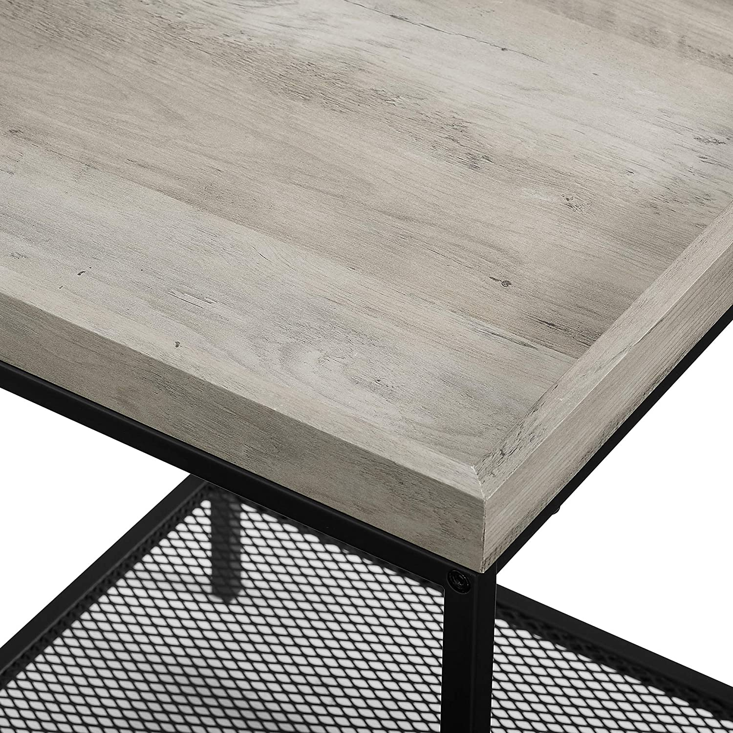 42 Inch WE Furniture Industrial Coffee Accent Table Living Room Rectangle Walnut Brown