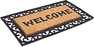 BirdRock Home Classic Welcome Brush Coir Doormat with Black Rubber Scroll Border, 20 x 36 Inch - Western Design