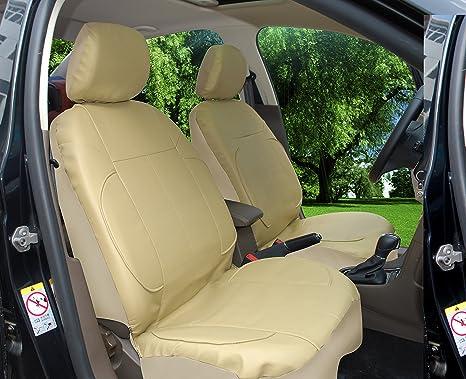 115303 Tan Leather Like 2 Front Car Seat Covers Compatible To Subaru Impreza WRX Legacy