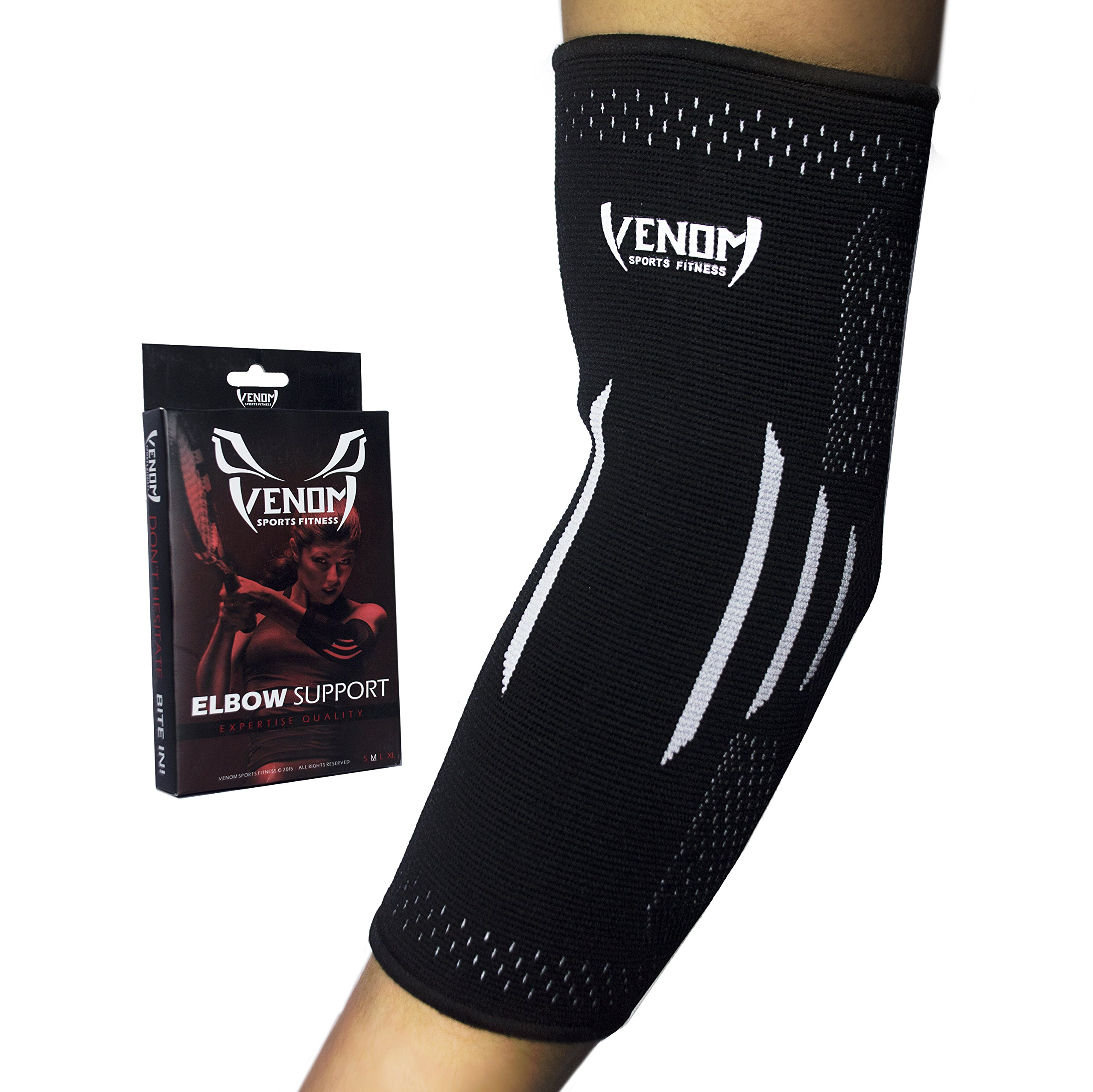 Venom Elbow Brace Compression Sleeve - Elastic Support for Tendonitis Pain, Tennis Elbow, Golfer's Elbow, Arthritis, Bursitis, Basketball, Baseball, Football, Golf, Lifting, Sports, Men, Women (Large)