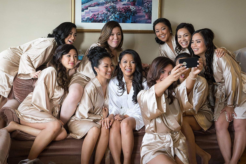 Vlazom Womens Satin Kimono Robe Bridal Bridesmaid Party Robes Bride Morning Robes with Gold Glitter or Rhinestones