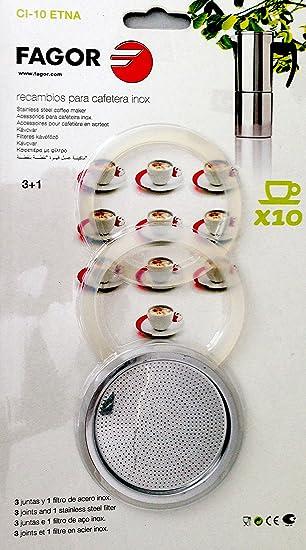 Fagor - Recambio Cafetera Ci10, 3 Juntas, 1 Filtro, Para Mod. Etna10: Amazon.es: Hogar