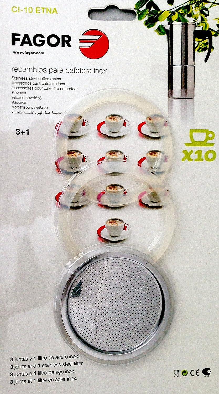 Fagor - Recambio Cafetera Ci10, 3 Juntas, 1 Filtro, Para Mod ...