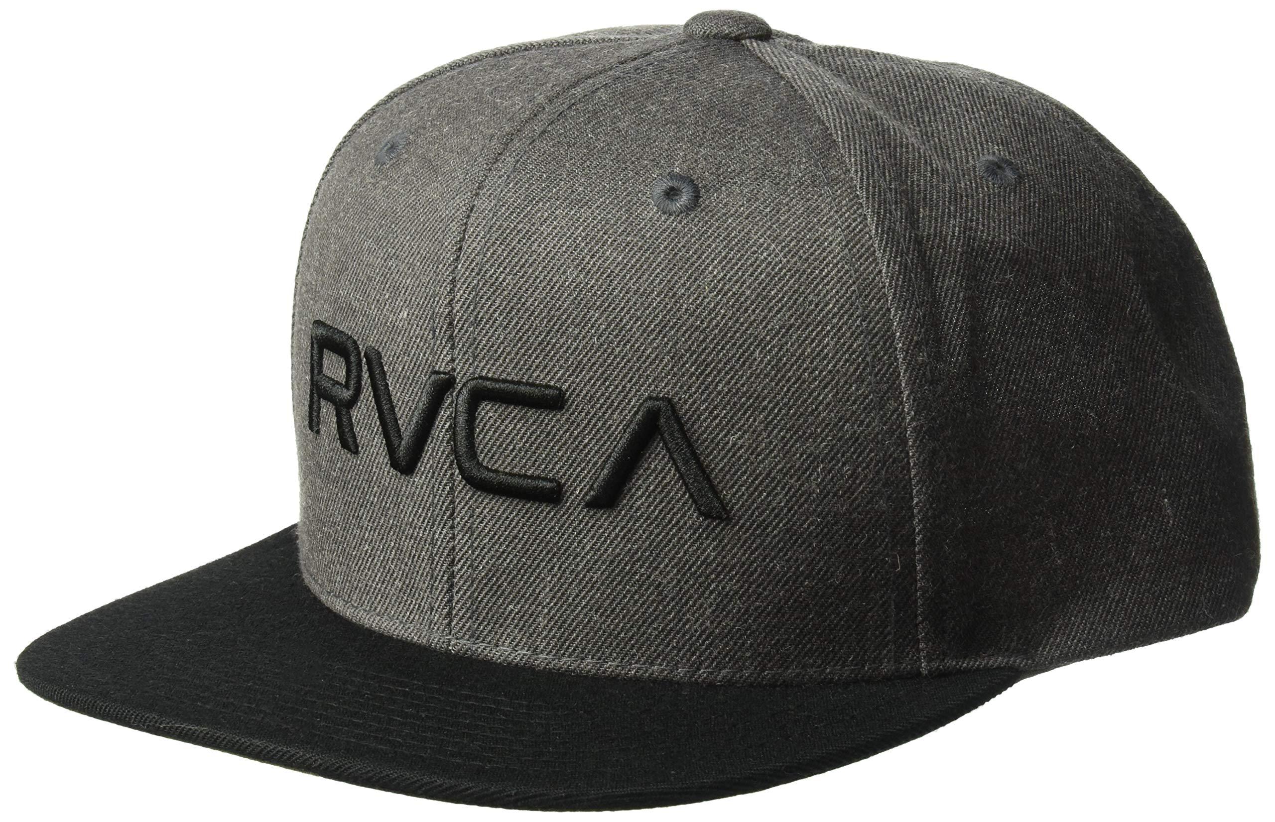 RVCA Big Boys' Twill Snapback Hat, Charcoal Heather/Black, One Size