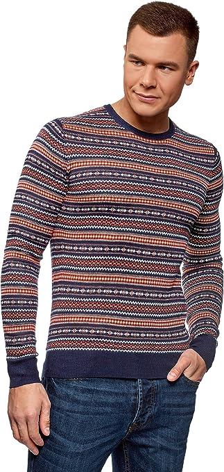 TALLA XL. oodji Ultra Hombre Jersey de Punto de Jacquard