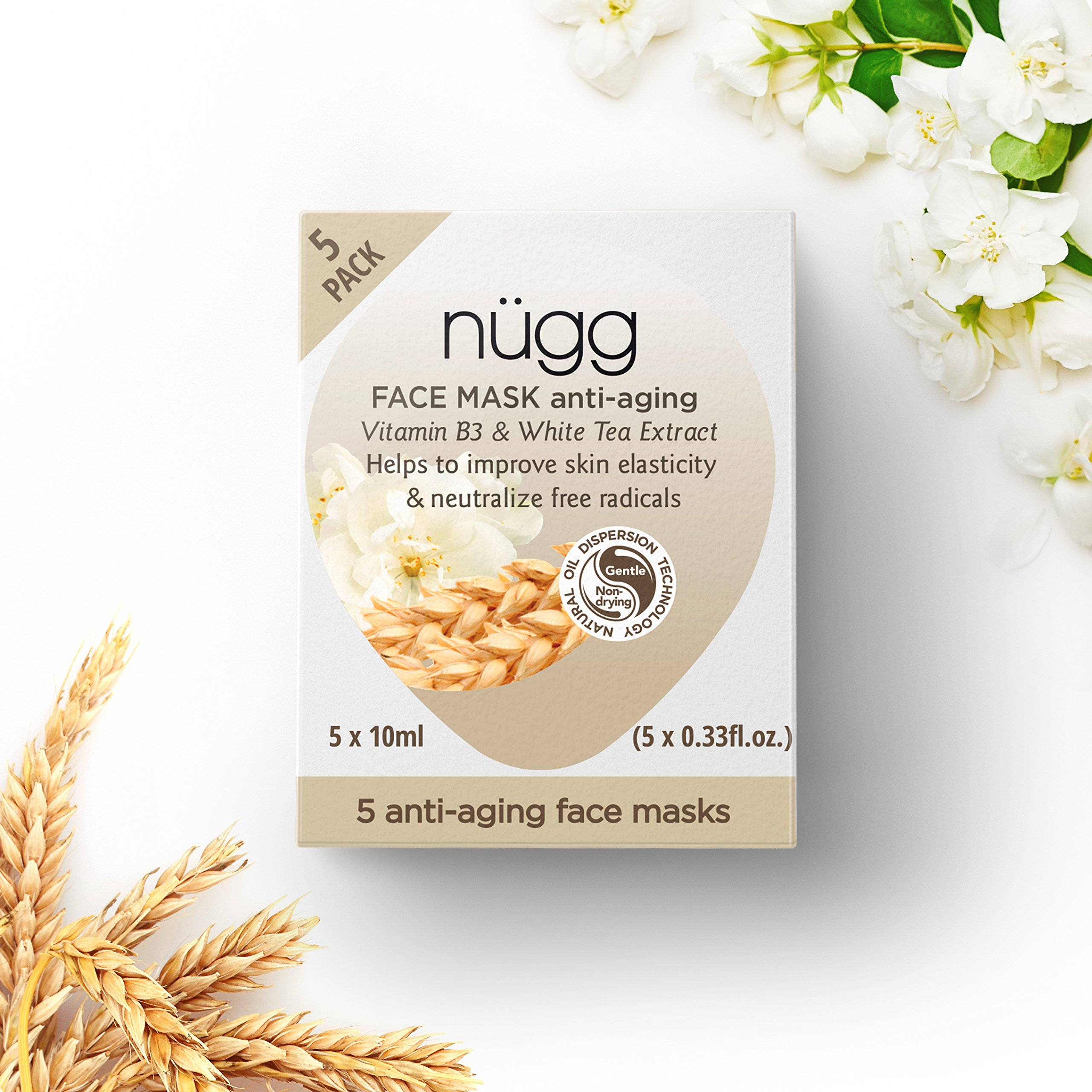 nügg Anti Aging Mask for Youthful Skin with Vitamin B3 and White Tea Extract; 97% Natural/Naturally Derived; 5 Pack of Single Use Face Mask Pods