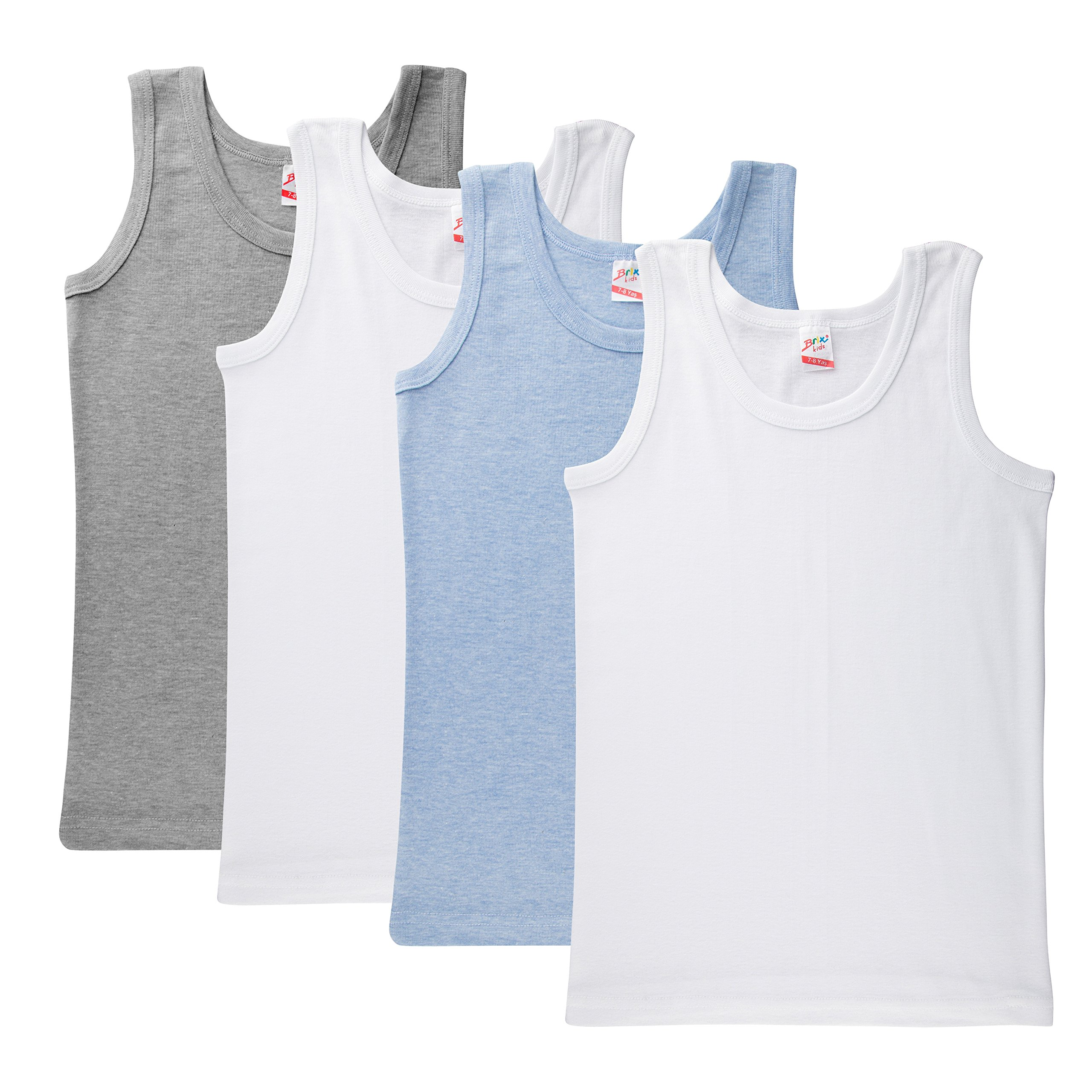 e45651f2358e84 Brix Boys  Cotton Tank Top - Tagless Undershirts Super Soft 4-Pack Tees  Sizes