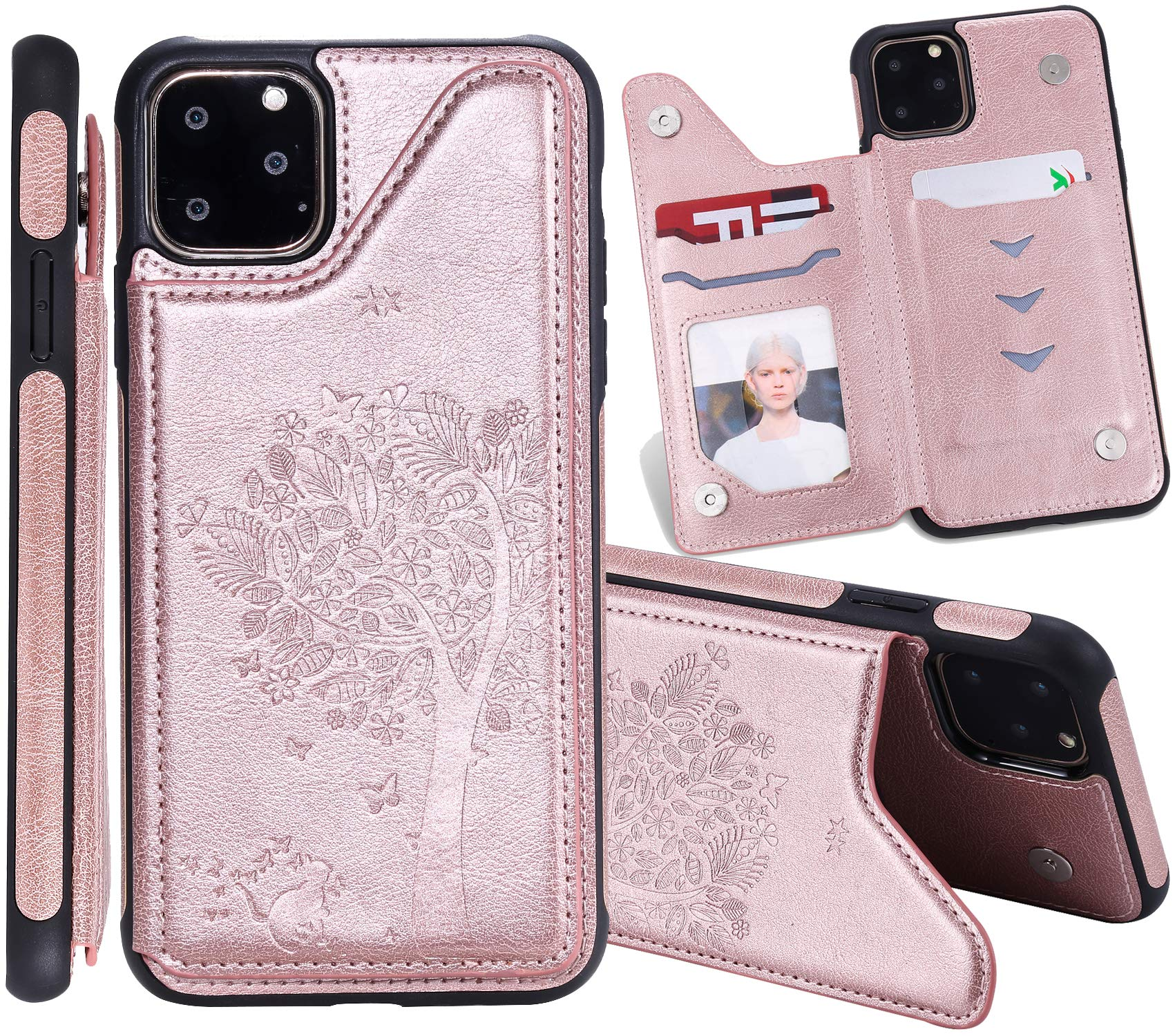iPhone 2019 6.5 Inch Case, iPhone 11 Pro Max Case, Futanwei Cat & Tree Embossed Magnetic Leather Card Slots Wallet Slim Lightweight Shockproof Defender Phone Case for iPhone 11 Pro Max, Rose Gold by Futanwei