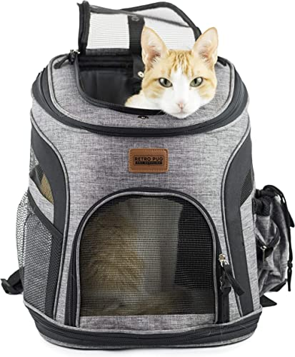 RETRO PUG Cat Carrier Backpack – Front Pack – Airline Approved – Strap Adjustable – Pet Carriers for Small Dogs and Cats – Travel, Hiking, Outdoor with Dog – Include Fleece Pad – Up to 10 lbs