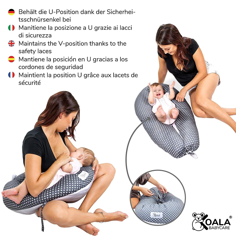 Koala Babycare® Almohada para Embarazadas para Dormir y Amamantar U Pillow con Soporte Lumbar, Cervical - Cojin Maternidad con Cordones de Seguridad - ...
