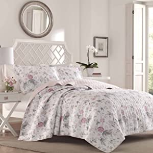 Laura Ashley Breezy Floral Pink Quilt Set, Full/Queen, Gray