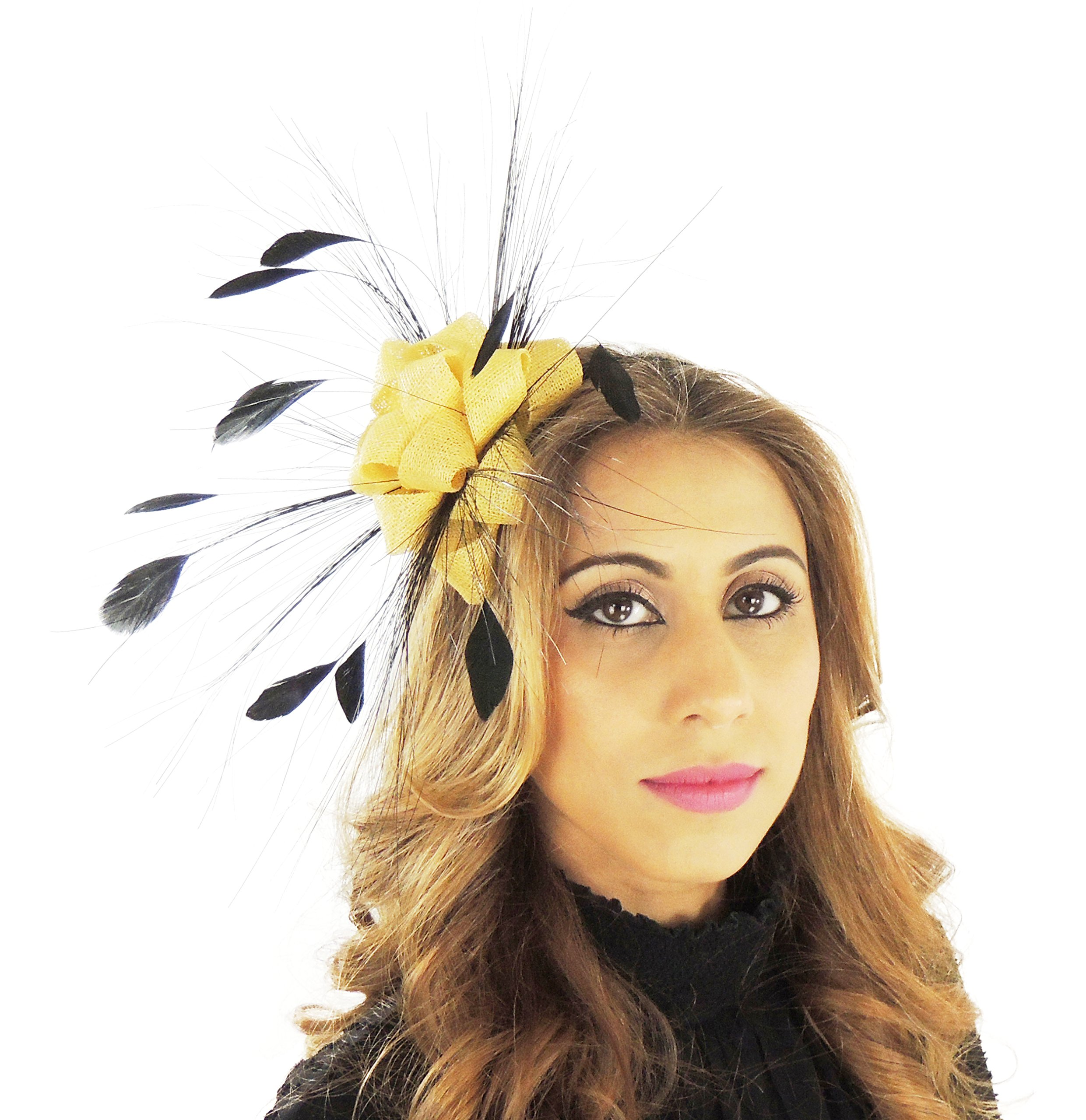 Hats By Cressida Ladies Wedding Races Ascot Derby Small Fascinator Headband Yellow & Black by Hats By Cressida