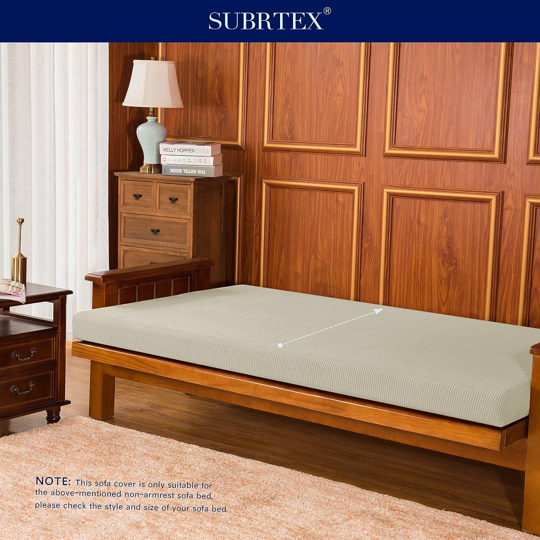 subrtex Stretch Futon Cover Jacquard Futon Slipcover Full Size Futon Mattress Cover Foldable Armless Sofa Bed Cover Furniture Cover Futon, Sand