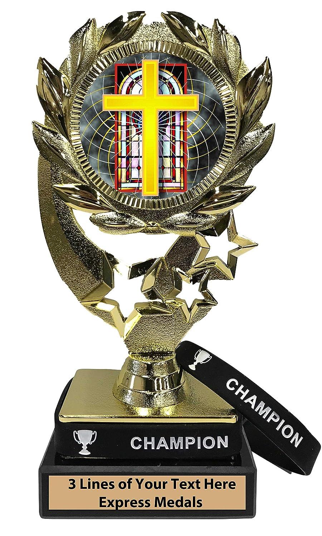 Express Medals 宗教トロフィー 着脱可能 着用可能 チャンピオンリストバンド 大理石ベース カスタマイズ彫刻プレート B07KN48PWF