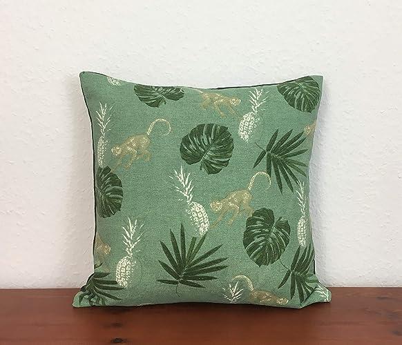Kissenbezug Dschungel Muster, Pflanzen mit Rückseite aus Leinenstoff ...