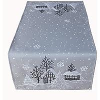 Raebel OHG tafelloper borduurwerk winterdorp spar kerst wit decoratie kersttafelkleed (lichtgrijs-wit, 40 x 140 cm)