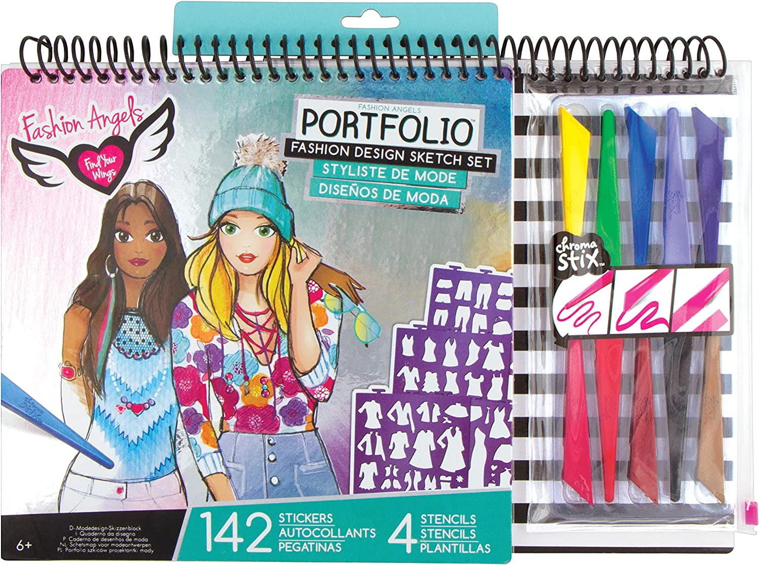 Amazon Com Fashion Angels Fashion Design Sketch Portfolio Artist Set Multi None Toys Games