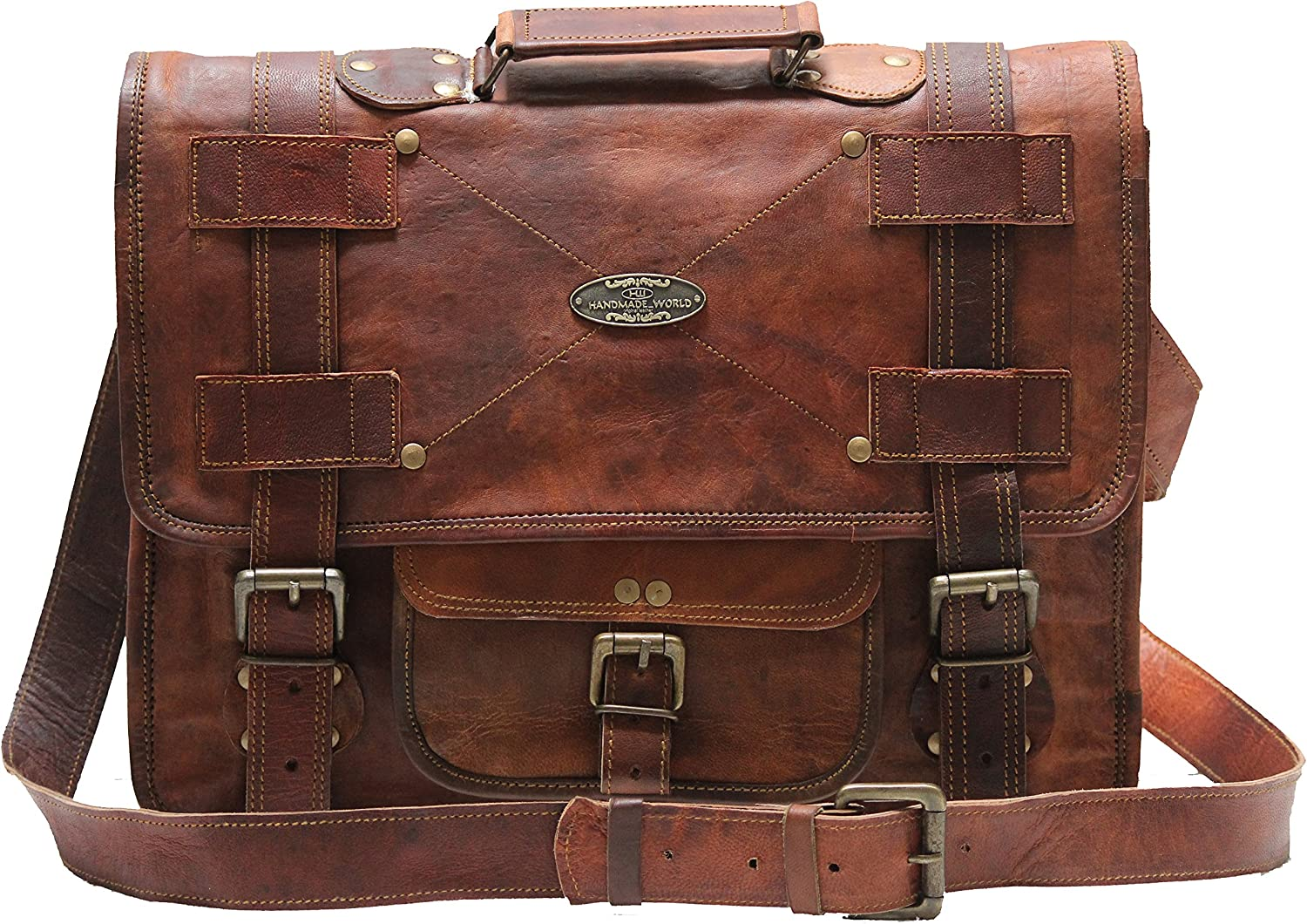 "Handmade World Leather Messenger Bags For Men Women Briefcase Laptop Computer Satchel Distressed Bag (13"" X 18"")"