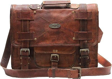 Men/'s Brown Leather Bag Business Messenger Briefcase Laptop Shoulder Handmade