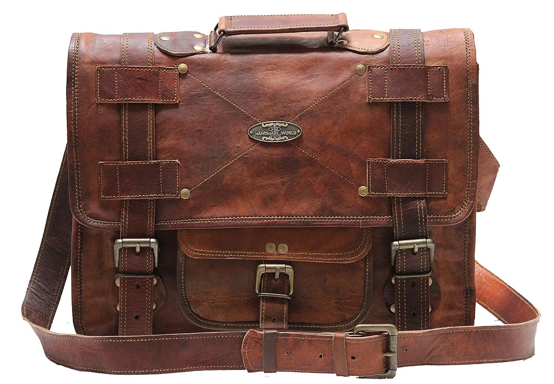 Handmade_world Leather Messenger Bags for Men Women Mens Briefcase Laptop Bag Best Computer Shoulder Satchel School Distressed Bag (11 X 15) H_W FDM15inch