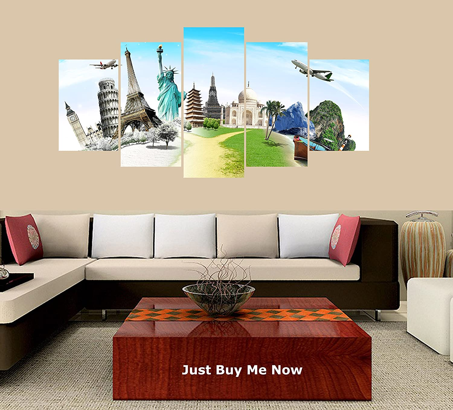 PEACOCK JEWELS Premium Quality Canvas Printed Wall Art Poster 5 Pieces/5 Pannel Wall Decor Wonders of The World Map Painting, Home Decor Pictures - with Wooden Frame