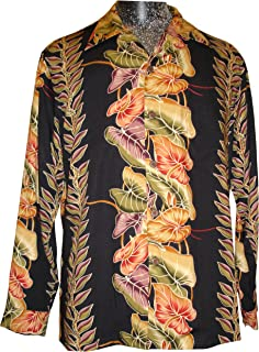 product image for Paradise Found Kamehameha Mens Anthurium Panel Long Sleeve Shirt Black M