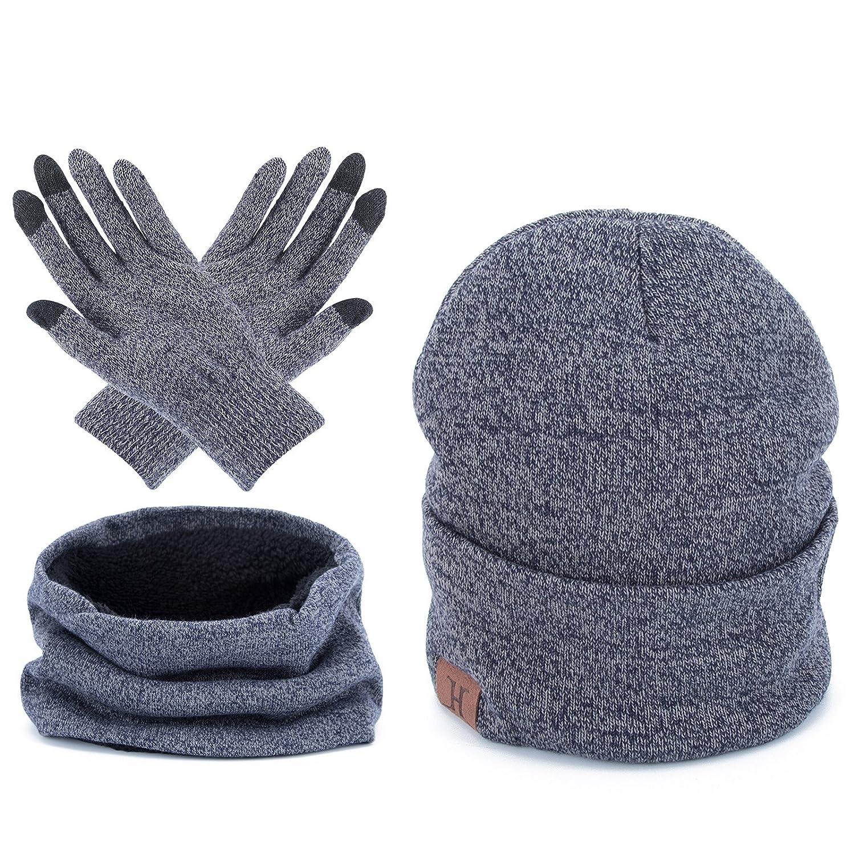 AWAYTR Unisex Winter Warm Beanie Hat - Scarf Touch Screen Gloves,3 Pieces Set 3 Pieces Set (Black) B013LNHF1YAS