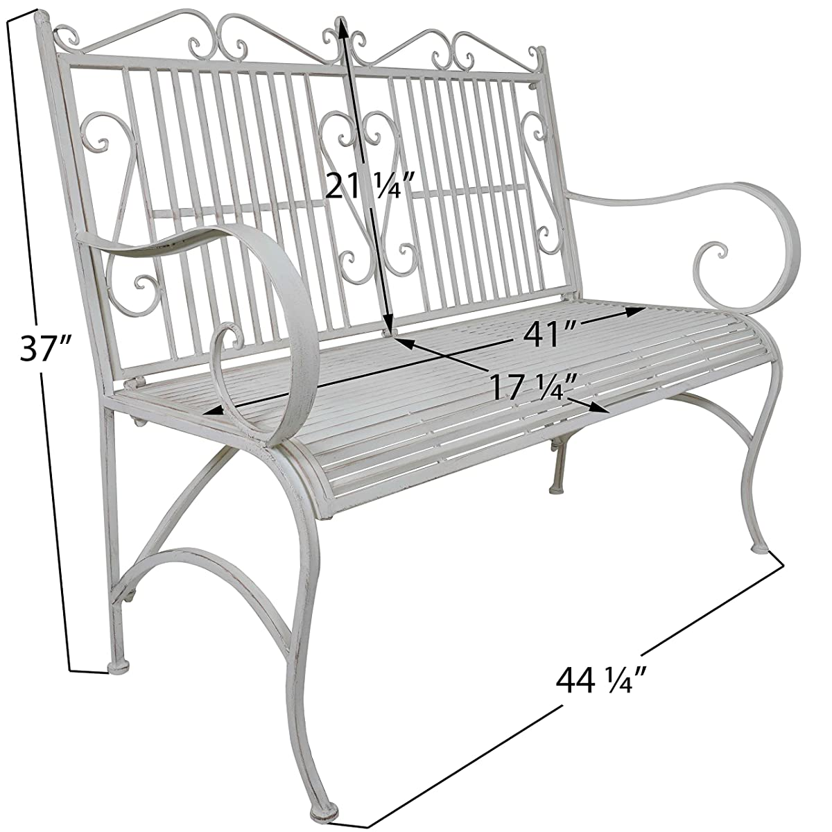 Titan Outdoor Antique White Metal Bench Chair Porch Patio Garden Deck Decor