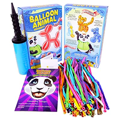 Balloon Animal University PRO Kit with 100 balloons, Now With NEW Sculptures! How-To Videos, Qualatex Balloons, Pump, Instruction Book. Learn to Make Balloon Animals Fun Party Activity Holiday Gift: Toys & Games