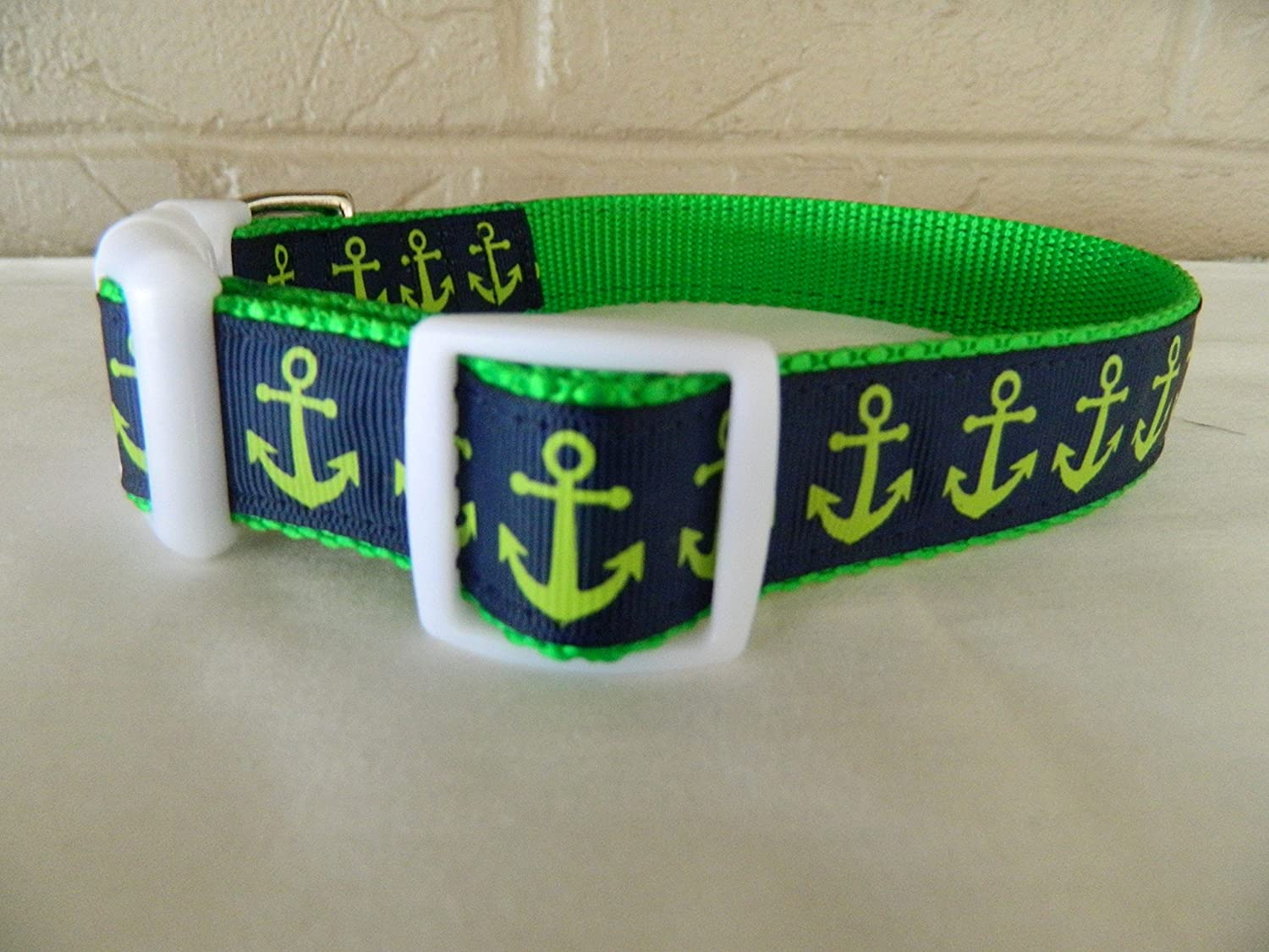 Schmoopsie Couture Navy with White Anchors Dog Collar and Leash