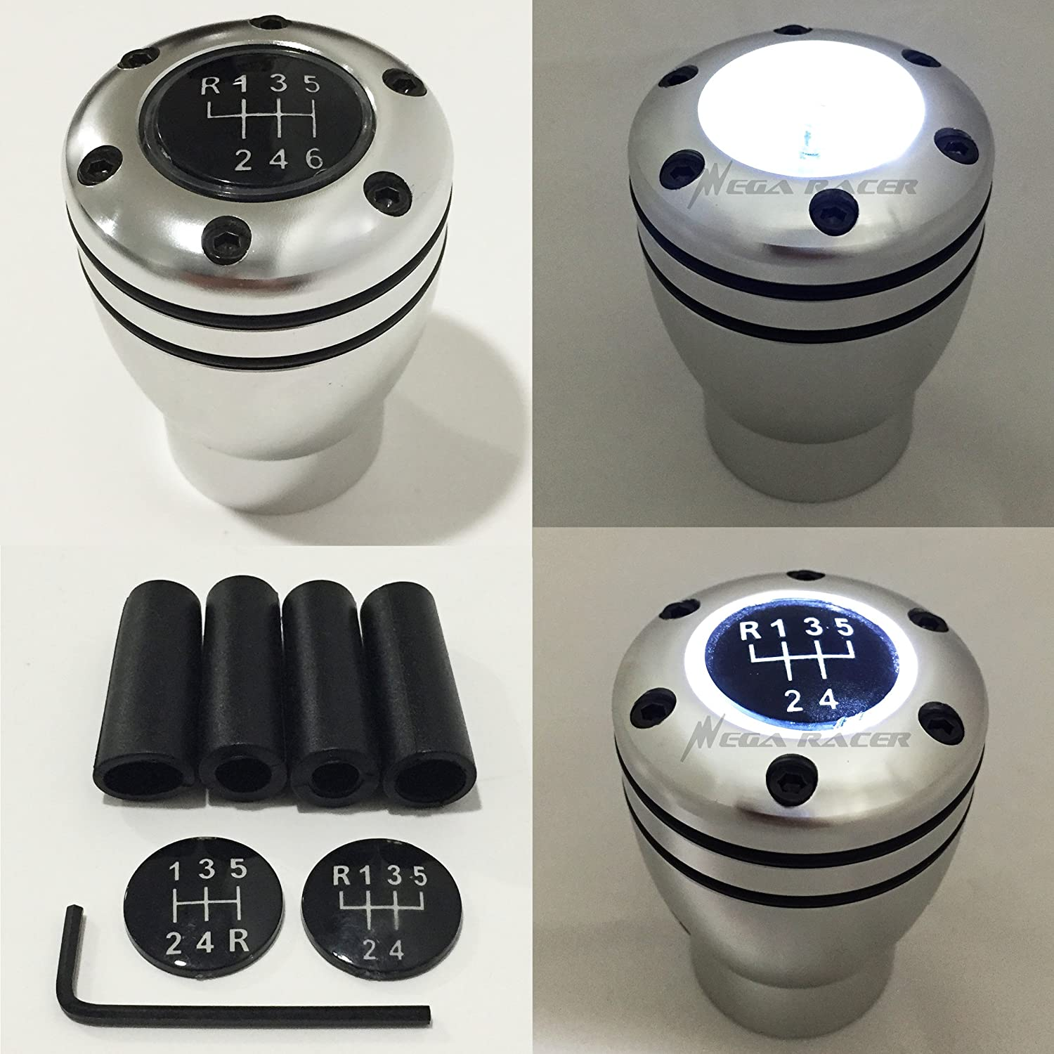 Manual Transmission Speed 5 6 WHITE LED Light Silver Sport Gear Stick Shift Knob JDM Style Auto US Shifter Console Lever Mega Racer